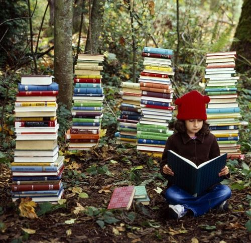 with books in wood